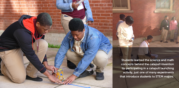 Students learned the science and math concepts behind the catapult