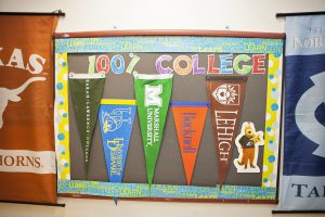 Bulletin Board display of various college pennants